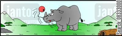 adorning cartoon humor: Rhinoceros playing Bilboquet.