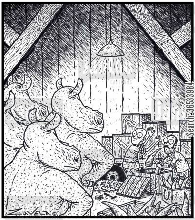 poacher cartoon humor: An angry group of Rhinoceros have finally found the Poachers responsible for cutting off their horns.