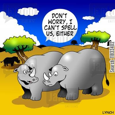 rhinocerous cartoon humor: Don't worry, I can't spell us either.