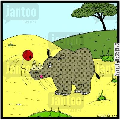 sisyphian cartoon humor: Rhinoceros playing Bilboquet.