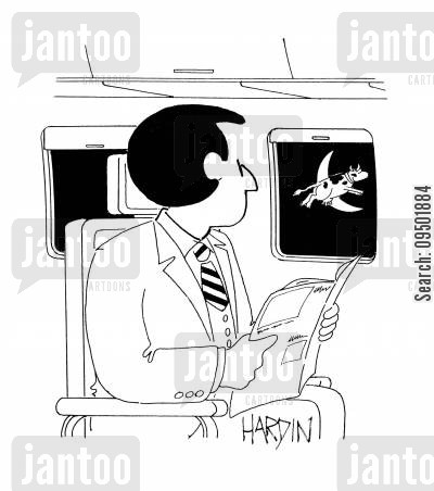 moon jumps cartoon humor: Man on plane sees cow jumping over moon.