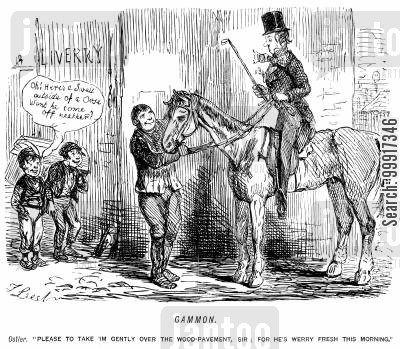 horse riding cartoon humor: A swell going riding is told to be careful because the horse is very fresh.