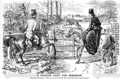 horse riding cartoon humor: Lady asking a man to Jump over a gate before her