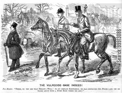 hymn book cartoon humor: Riders spot a fellow hunter carrying a hymn book