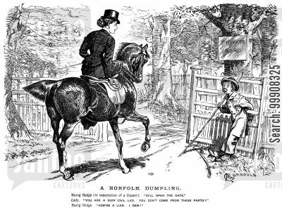 horse riding cartoon humor: A Norfolk Dumpling.