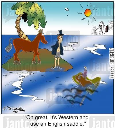 saddle cartoon humor: 'Oh great. It's Western and I use an English saddle.'