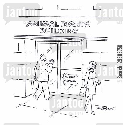 discriminate cartoon humor: No dogs allowed.