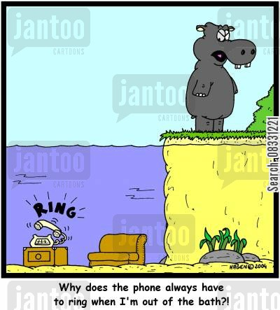 cleanse cartoon humor: 'Why does the phone always have to ring when I'm out of the bath?!'