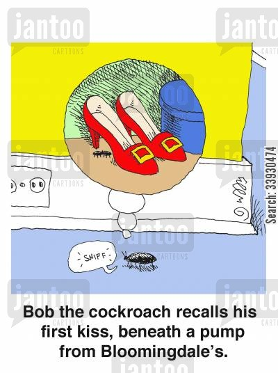 roaches cartoon humor: Bob the cockroach recalls his first kiss, beneath a pump from Bloomingdale's.