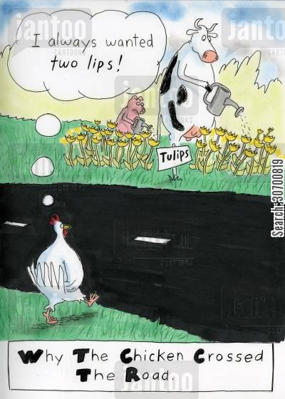 growing flowers cartoon humor: 'I always wanted two lips!' Why the chicken crossed the road.