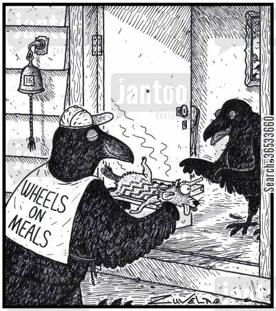 roadkill cartoon humor: Wheels on Meals - the Crow world's version of Meals on Wheels delivering roadkill to the old.