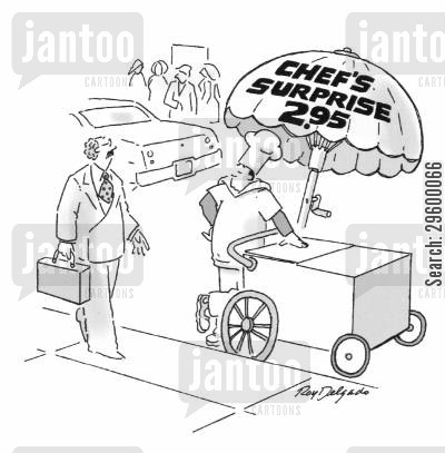 carts cartoon humor: Chef's Surprise - 2.95 (Cart is on side of the road).