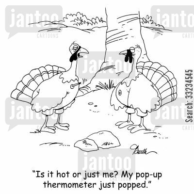 hot wealther cartoon humor: 'Is it hot or just me? My pop-up thermometer just popped.'