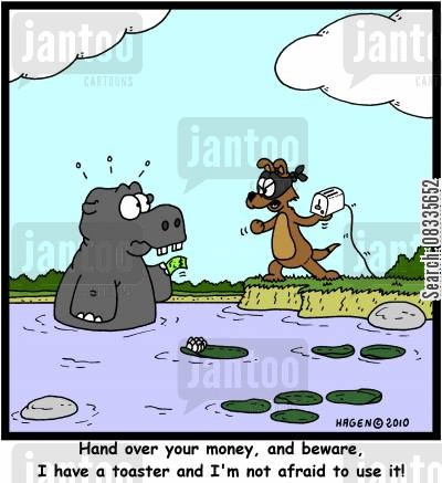 electrical appliance cartoon humor: 'Hand over your money, and beware, I have a toaster and I'm not afraid to use it!'