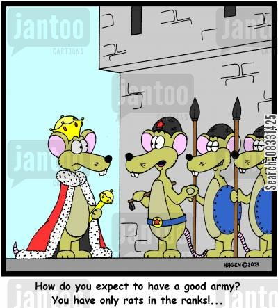 kings castle cartoon humor: How do you expect to have a good army? You have only rats in the ranks!...