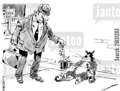 panhandle cartoon humor: Alley cat begging, receiving mouse in cup.