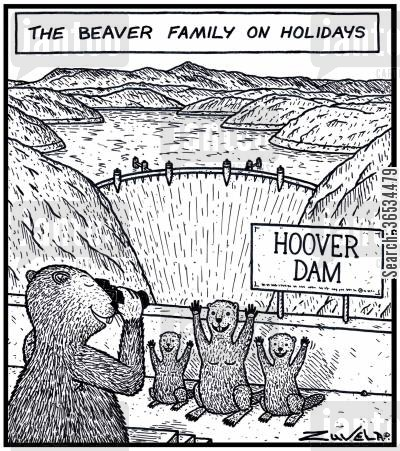 damn cartoon humor: The Beaver family on Holidays