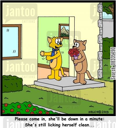 romantic date cartoon humor: Please come in, she'll be down in a minute: She's still licking herself clean...'