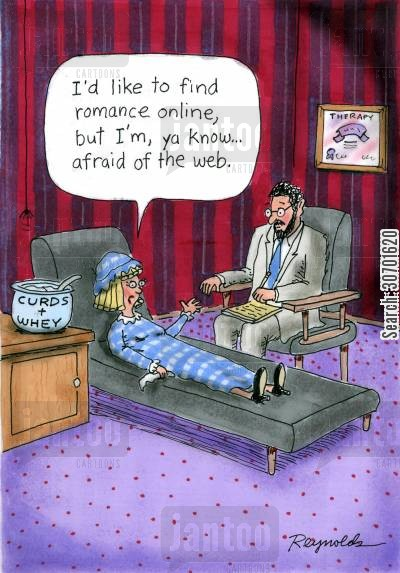 meet online cartoon humor: 'I'd like to find romance online, but I'm, ya know...afraid of the web.'