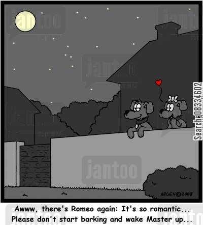 romeo cartoon humor: 'Awww, there's Romeo again: This is so romantic... Please don't start barking and wake Master up...'
