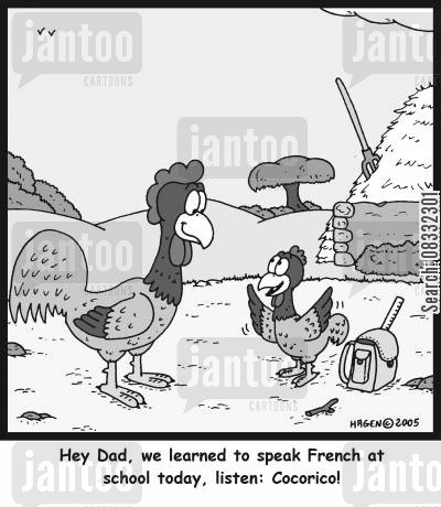 exchange students cartoon humor: 'Hey Dad, we learned to speak French at school today, listen: Cocorico!'