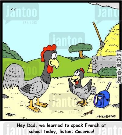 foregn student cartoon humor: 'Hey Dad, we learned to speak French at school today, listen: Cocorico!'