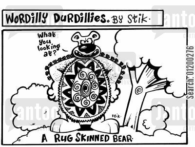 skinned cartoon humor: A rug skinned bear