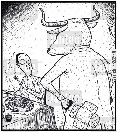 rump steaks cartoon humor: An angry bull has found out where his missing piece of Rump (steak) has ended up.
