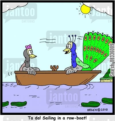 rowing boats cartoon humor: 'Ta da! Sailing in a row-boat!'