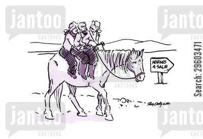 cramped cartoon humor: Horses for sale.