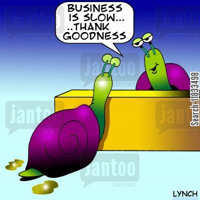 pace cartoon humor: Business is slow, thank goodness.