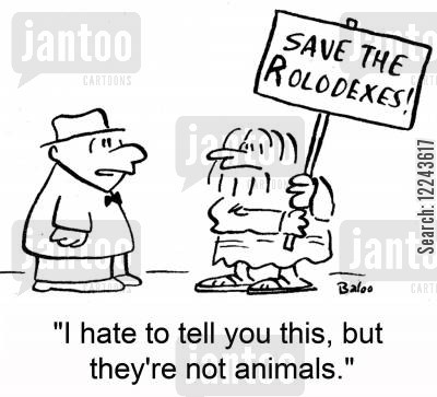 save the whales cartoon humor: Save the Rolodexes! 'I hate to tell you this, but they're not animals.'