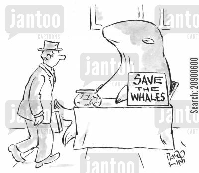 environmental campaigner cartoon humor: 'Save the Whales' campaigner.