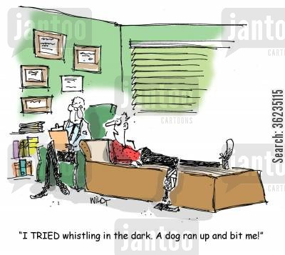 scared of the dark cartoon humor: I tried whistling in the dark. A dog ran up and bit me.