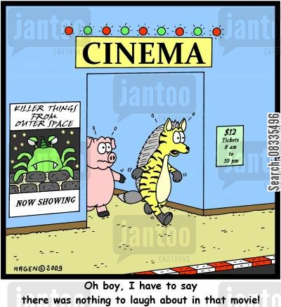 laughing hyena cartoon humor: 'Ob boy, I have to say there was nothing to laugh about in that movie!'
