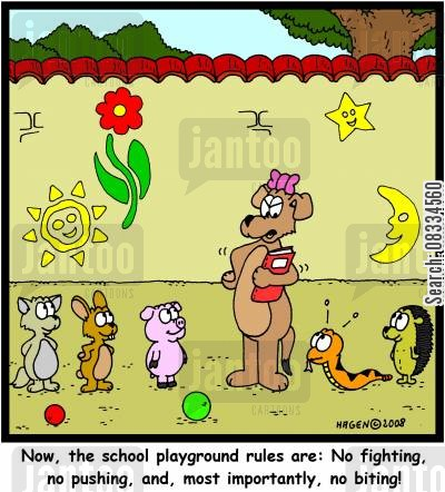 playground rules cartoon humor: 'Now, the school playground rules are: No fighting, no pushing, and, most importantly, no biting!'
