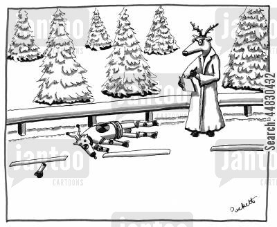 safety check cartoon humor: A scientist-deer analyses the results of a recent crash-test involving a crash-test deer...