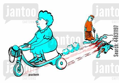civility cartoon humor: An elderly woman runs over a dog with her motorized scooter...