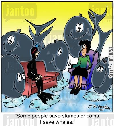 diving cartoon humor: Some people save stamps or coins. I save whales.