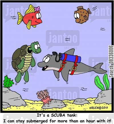 compressed cartoon humor: 'It's a SCUBA tank: I can stay submerged for more than an hour with it!'