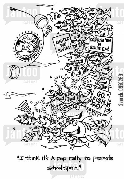 shoals of fish cartoon humor: 'I think it's A pep rally to promote school spirit.'