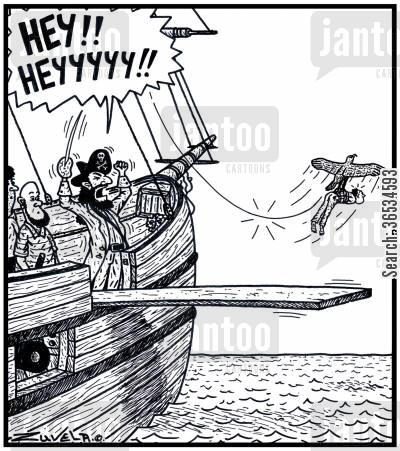 dissatisfied cartoon humor: An angry Pirate yelling at a Sea Hawk who has just stolen his Prisoner who was about to Walk the Plank.