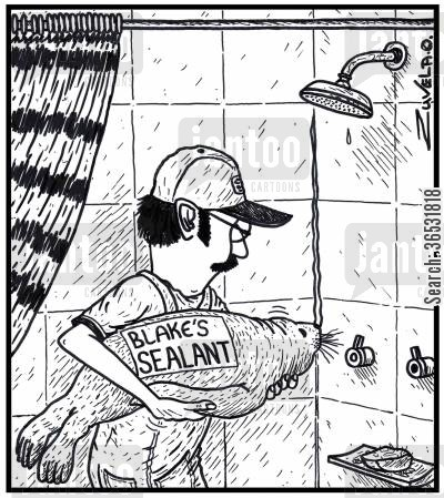 tiles cartoon humor: Blake's Sealant.