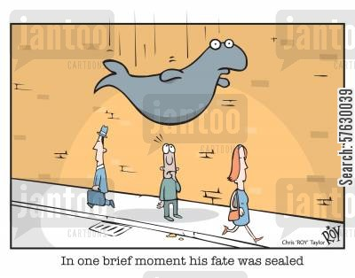 sealed cartoon humor: 'In one brief moment his fate was sealed'