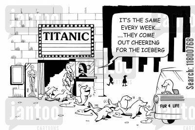 titanic cartoon humor: ...They come out cheering for the iceberg.