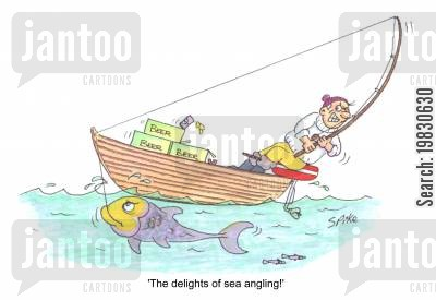 big fishes cartoon humor: Delights of sea angling!