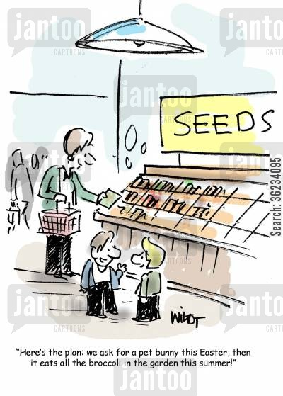 planting seeds cartoon humor: Here's the plan: we ask for a pet bunny this Easter, then it eats all the broccoli in in the garden this summer.