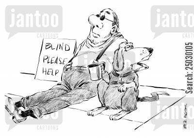 handicaps cartoon humor: Seeing-eye dog begs for master.