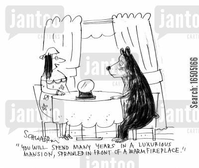 second sight cartoon humor: 'You will spend many years in a luxurious mansion, sprawled in front of a warm fireplace.'