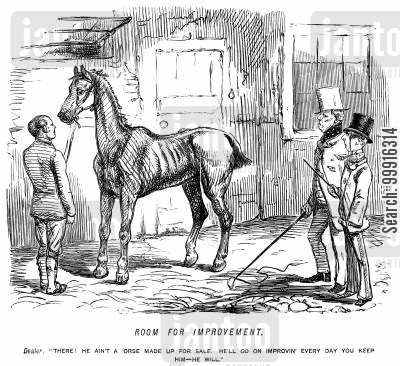 sales cartoon humor: Horse dealer trying to sell an unfit horse by suggesting that it will keep improving